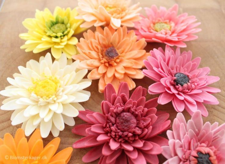 Tutorial / how to / DIY: How to make a gerbera from fondant or gum paste. You can decorate cupcakes or fondant cakes with this bright and cheerful flower.