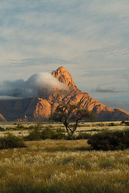 The granite peak of Spitzkoppe in the Namib desert of Namibia.  http://www.lonelyplanet.com/search?q=Namibia