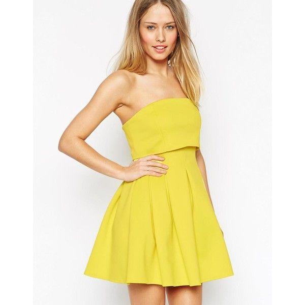 ASOS Crop Top Mini Bandeau Debutante Dress ($61) ❤ liked on Polyvore featuring dresses, yellow, asos, zip dress, yellow mini dress, zipper dress and bandeau skater dress