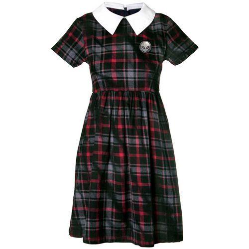 Outsider tie dye jurk met schotse ruit tartan print rood/zwart