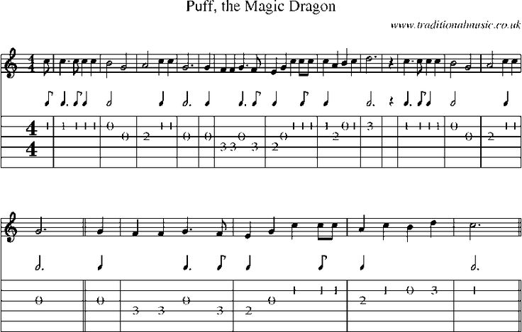 Guitar Tab and sheet music for Puff, The Magic Dragon- still love this song
