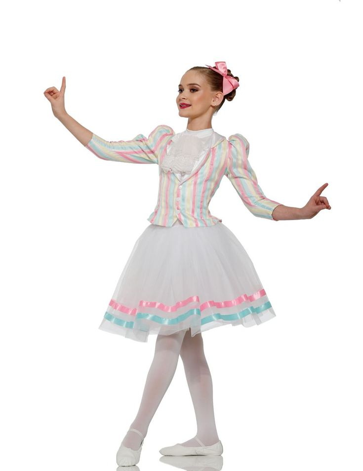 """LEOTARD: White lycra with white lace cravat JACKET: (Removable) Pastel pink, blue, yellow and white striped organza over white satin TRIM: Snaps, pink bow and white collar LONG SKIRT: (Removable) White tricot TRIM: Pink and aqua ribbon HAIRBOW INCLUDED SIZES: Child: XS-S-M-L-XL-XXL FOR """"DIAMOND"""" EARRINGS SEE ACCESSORIES Imported"""