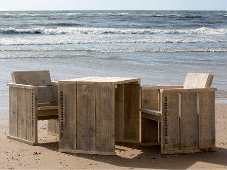 Steigerhouten meubelsets met kussens - Strandmeubel.nl : Set 4 Tuinset met tafel