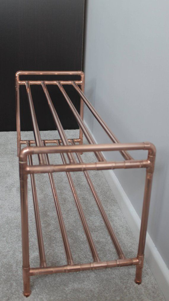 Copper Pipe Shoe Rack Handmade With Industrial Fittings