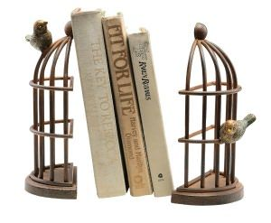 Beautiful bird cage bookends perfect for holding those treasured books in place.