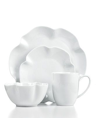 simple and stunning white place settings the cellar dinnerware whiteware ruffle 4 piece place