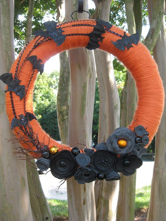 Halloween Wreath: Bats and Flowers, Black and Orange. NEW in my Etsy shop! (Sale on all Halloween items on October 1 -- see my shop banner on sale day for the coupon code!)