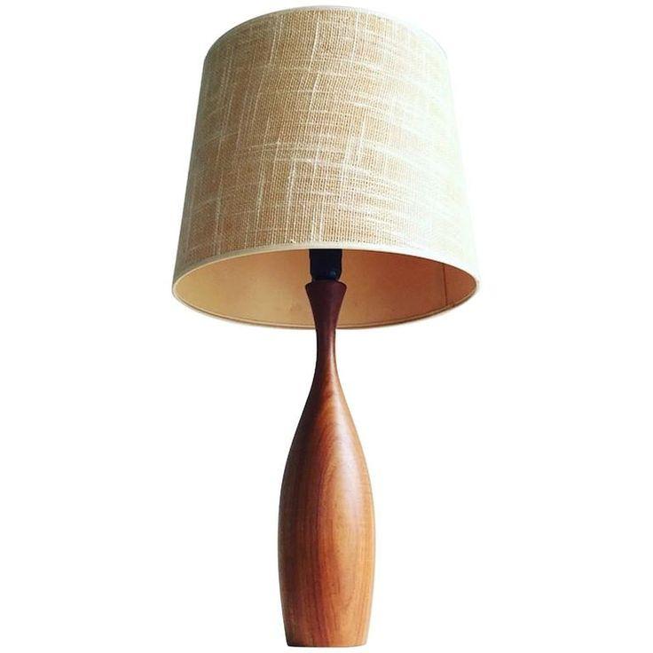 Mid-Century Danish Teak Table Lamp with Original Jute Shade | 1stdibs.com