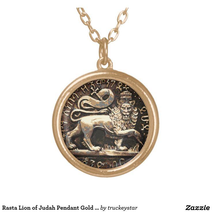 Rasta Lion of Judah Pendant Gold Finish