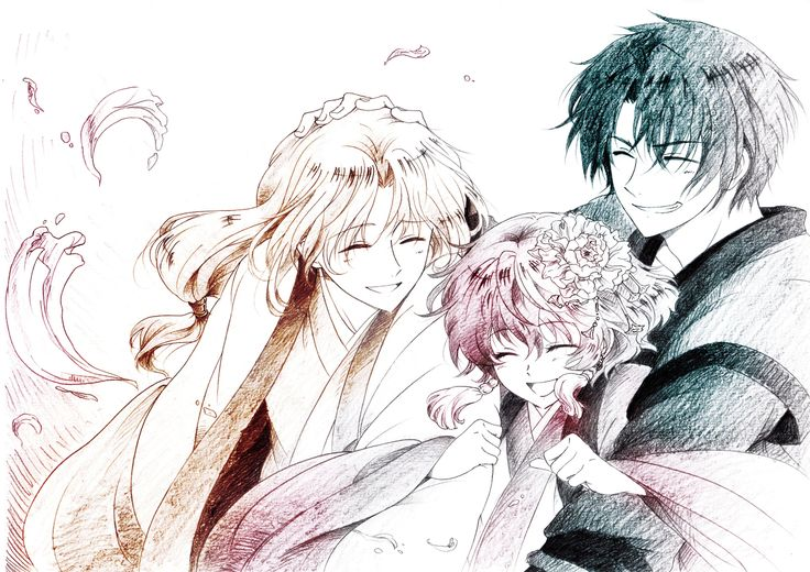Soo-won, Yona, and Hak || By 最果てのさつまいも on pixiv || The ultimate OT3 of pain. T__T