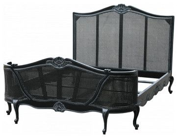 Tatum French Farmhouse Chic Bed in Black - traditional - Bed Frames - Lansky Studio