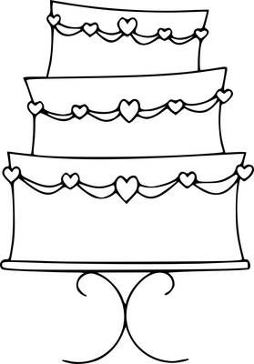 Free Wedding Cake Digital Stamp ~ Kate Pullen