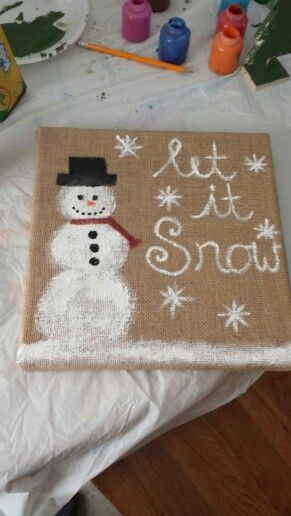 Snowman painted on burlap