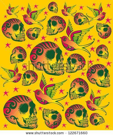 Tattoo Birds And Skull Stok Vektör İllüstrasyonu Kodu: 122671660 : Shutterstock