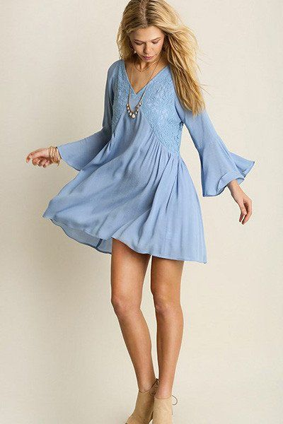 Effortless and relaxed, this baby blue dress is just what's been missing from your weekend rotation.     Imported