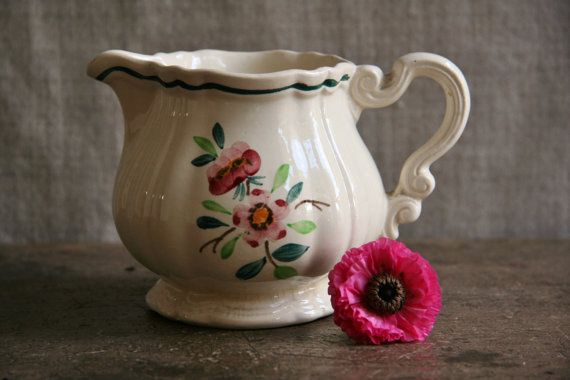 Vintage French Jug for Sauces, Milk Sarreguemines Amazonas Made in France Cream Flower Pitcher Farmhouse
