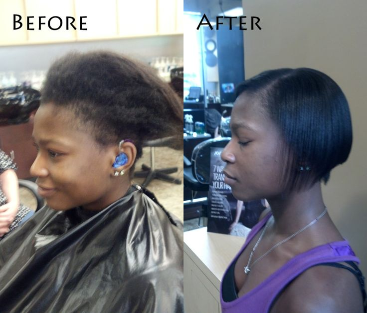 Before And After A Chemical Relaxer.