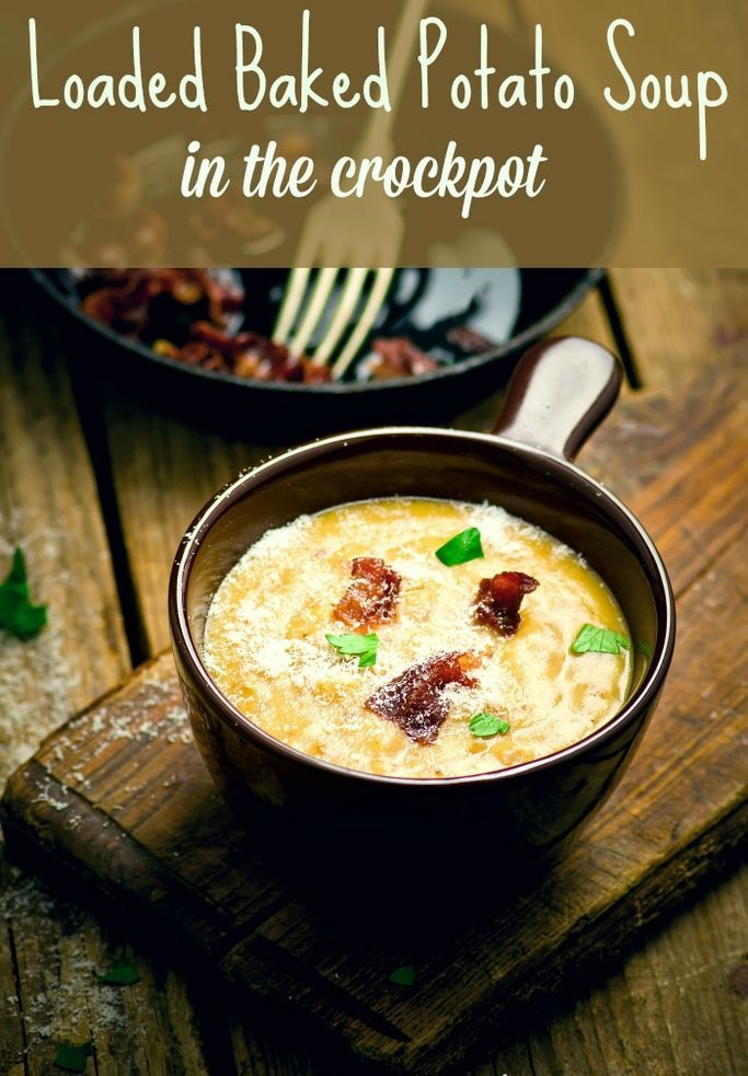 Loaded baked potato soup recipe made in the crockpot. The BEST and EASIEST recipe for cheesy potato soup that cooks in the slow cooker.