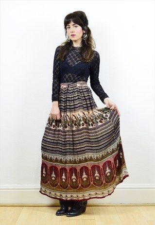 90s+boho+crinkled+India+maxi+skirt