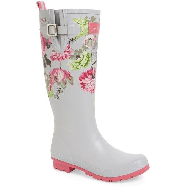 """Joules 'Welly'PrintRain Boot, 1"""" heel ($75) ❤ liked on Polyvore featuring shoes, boots, knee-high boots, silver posy, wellington boots, rain boots, print rain boots, slip on boots and knee high boots"""