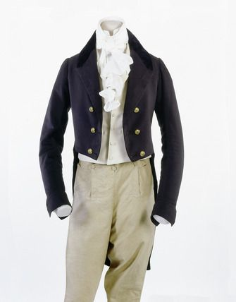 Men's dress coat, 1801-1828. Swallow tail coat, made of navy wool, facecloth with plush dark blue velvet collar. This coat is double brested, and with tails. The coat is combined in this image with breeches of beige colour. Museum of London.