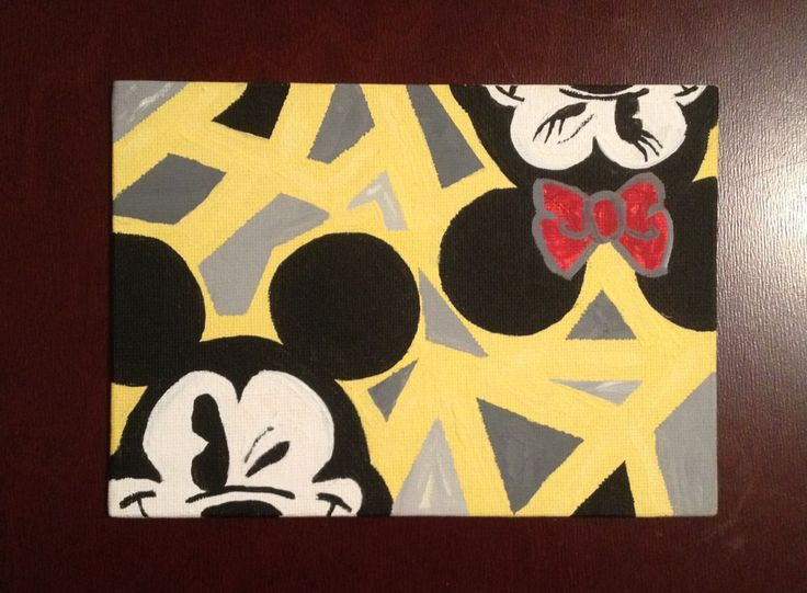 My Micky And Minnie Mouse Acrylic Canvas Painting Very Happy With How It Turned Out