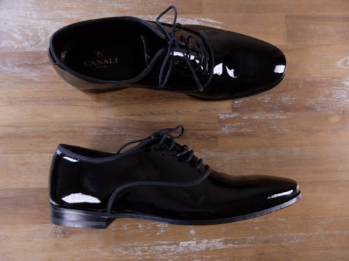 auth CANALI black patent leather shoes - Size 7 US / 6 UK / 40 EU - New in Box