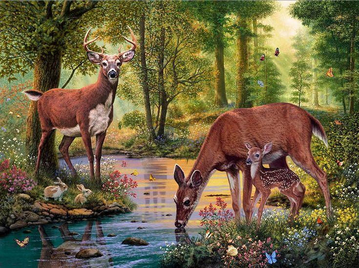 Imágenes Arte Pinturas: Paisajes de la Jungla con Tigres de Bengala y Otros Animales