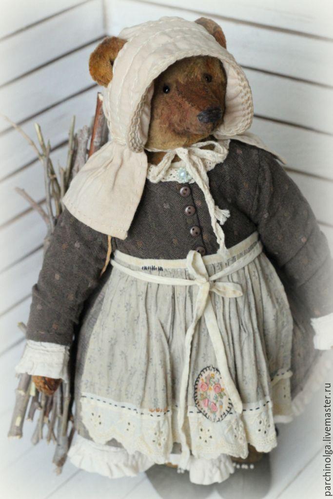 Купить Тётушка Агафья - коричневый, мишка, мишка тедди, мишка ручной работы, тедди мишка