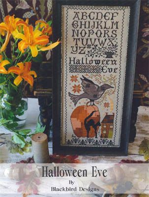 Blackbird Designs Halloween Eve - Cross Stitch Pattern. Model stitched on 30 Ct. Confederate Gray Linen with Crescent Colours and Gentle Art Sampler threads. DM