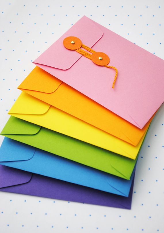 DIY String Tie Envelopes: Envelopes Templates, Envelopes Tutorials, Stampin Up, How To Make Paper Envelopes, Paper Cards, Diy String Ti, String Ti Envelopes, Colors Envelopes, Stringti Envelopes