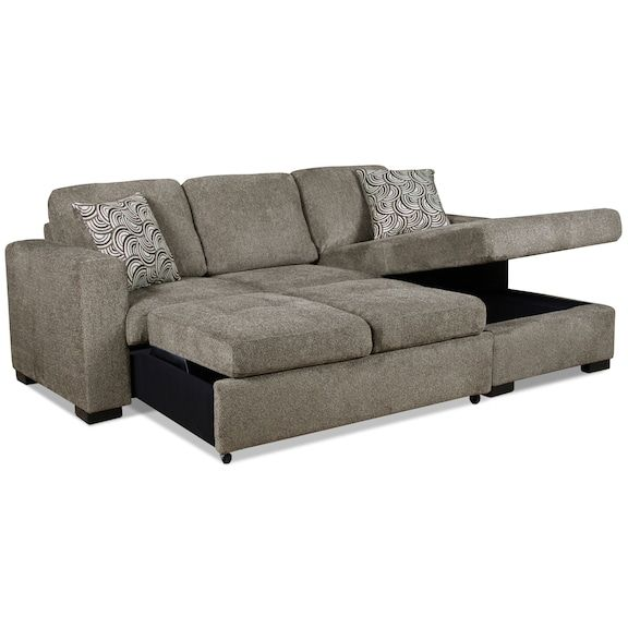 Izzy 2 Piece Chenille Right Facing Sectional With Sofa Bed Pewter The Brick Sectional Sofa Sectional Buy Sofa