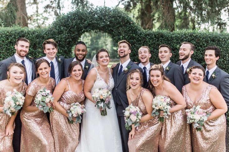 Rose Gold Sequin Bridal Party And Gray Suits With Navy Ties Bridal Party Groomsmen Bridal Party Attire Gold Bridal Party