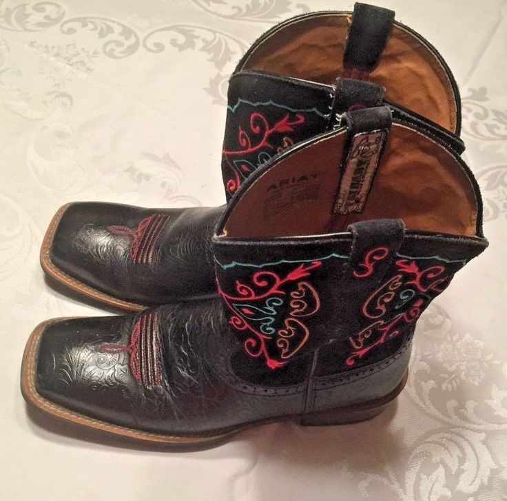 Ariat Fat Baby RodeoBaby Black Leather Western Cowgirl Boots 1005879 SZ 8 M #Ariat #CowboyWestern #Casual