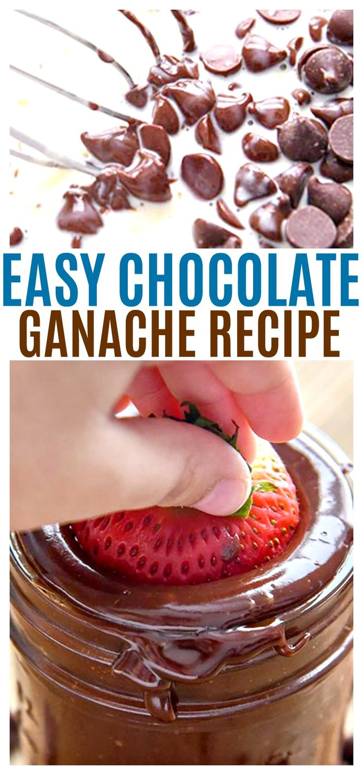 Our Easy Chocolate Ganache recipe can be the perfect fruit dip, chocolate ganache frosting, or even whip it for the best whipped chocolate ganache frosting. So easy to make and eat! Mixing via @CourtneysSweets