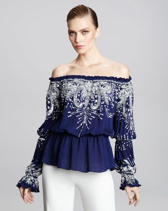 Off-the-Shoulder Embroidered Peasant Blouse by Naeem Khan at Bergdorf Goodman.