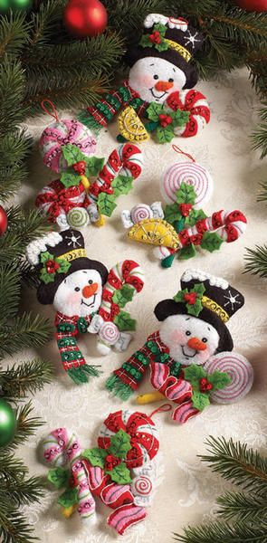 *FELT ART ~ Candy Snowman Ornaments Felt Applique Kit-4-1/2