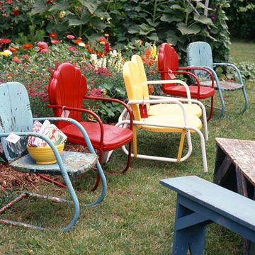 Plant a Colorful Row... these vintage metal chairs reflect the colors of the flower garden, a good source for palette inspiration. Manufactured starting in the 1940s, the chairs offer a nostalgic look back and also have modern appeal. Create your own seating area along a flower garden or gather four chairs around a table.