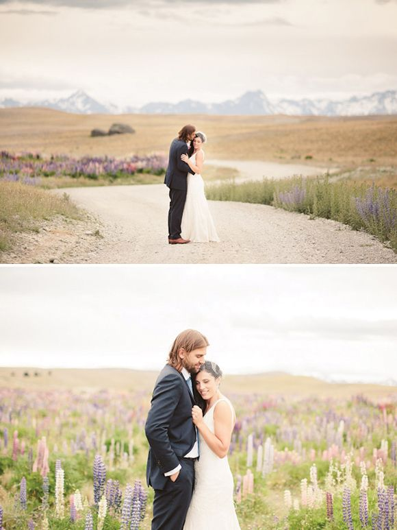 Lake Tekapo wedding by Alpine Images, peach and white with a hint of lavender