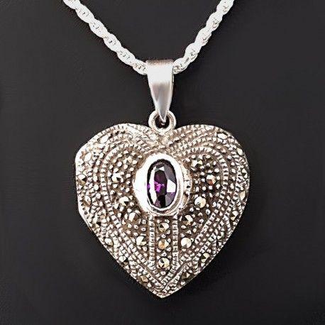 ArsAura.com Bellísimo Relicario en forma de corazón fabricado en plata de 925 repujado y decorado con hermosas marcasitas y una piedra natural de amatista ovalada
