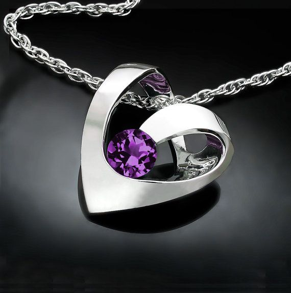 alexandrite necklace, June birthstone, heart pendant, valentine gift, valentine necklace, fine jewelry, Argentium silver, romantic gift 3401