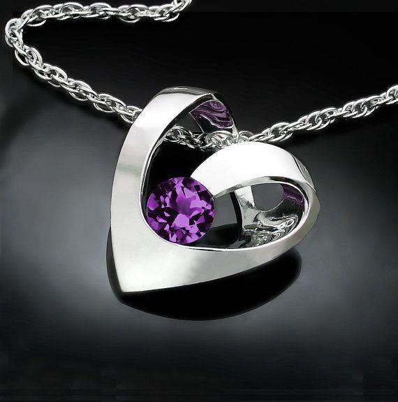 alexandrite necklace, June birthstone, heart pendant, valentine gift, valentine necklace, fine jewelry, Argentium silver, romantic gift 3401