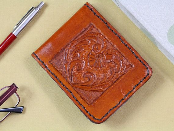 Art Deco Hand Carved Leather Wallet  Men's by TinasLeatherCrafts. Repin To Remember.