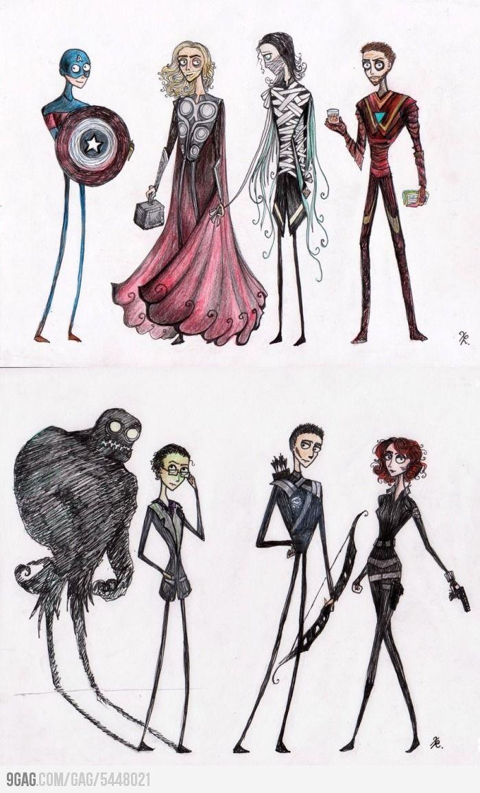 If Tim Burton made Avangers: Geeky, Burton Avengers, Marvel, Awesome, Tim Burton, Burton Style, Superhero, Timburton, The Avengers
