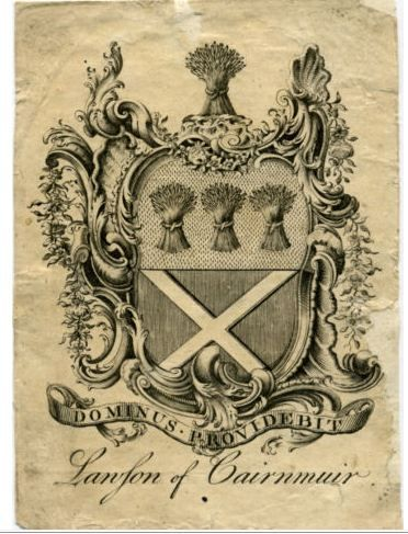Bookplate with Lawson of Cairnmuir coat of arms
