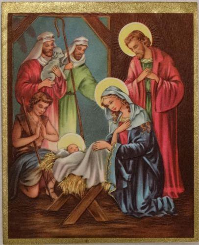 #1335 50s Nativity Scene  Vintage Christmas Greeting Card