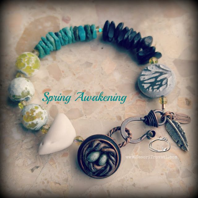 ABS March Challenge: Spring Awakening bracelet. Beads by Humblebeads, Summer Studio, Tesori Trovati with agate, turquoise, wood