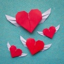 Flying Origami Heart: Diy Valentines Day, Crafts Ideas, Flying Origami, Single Sheet, Wings Heart, Crafts Valentines, Oragami Heart, Flying Heart, Origami Heart