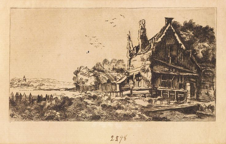 """Peisaj cu casă și hambar, 1789-1797 (după Rembrandt). Imagine din colecțiile Bibliotecii """"V.A. Urechia"""" Galați."""
