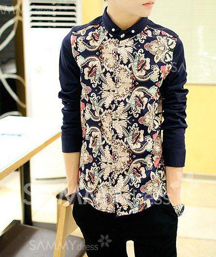 $15.24 Fashion Ethnic Pattern Splicing Shirt Collar Long Sleeve Slimming Cotton Shirt For Men